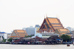 Community and temple at the Chao Phraya River Royalty Free Stock Photo