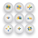 Community, unity, happy people, children playing vector icons Stock Photography