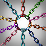 Community Unity. And social solidarity as a partnership concept with a group of three dimensional metal chains of different colors representing multiple races Stock Image