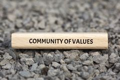 COMMUNITY OF VALUES - image with words associated with the topic COMMUNITY OF VALUES, word, image, illustration. COMMUNITY OF VALUES - image with words stock image