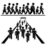 Community Walk Run Marching Marathon Pictograms. A set of pictograms representing people marching, running, and walking in community event Stock Photography