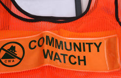 Community Watch Vest. Brightly colored community watch association vest that worn by volunteers when they are on patrol inthe neighborhood stock image