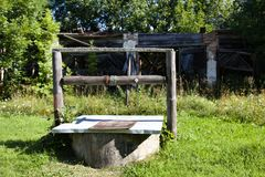 community well in Russian village stock photo