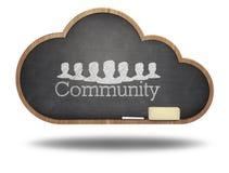 Community word cloud concept on blackboard stock photo