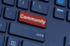 Community word on computer keyboard button Stock Photography