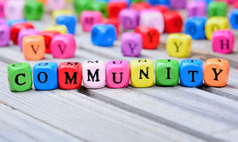 Community word on table royalty free stock images