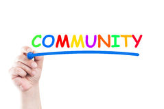 Community. Word community written by hand using a marker and underline on transparent wipe board with white background and copy space royalty free stock photo