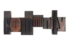 Community, word written in letterpress type blocks Royalty Free Stock Photography