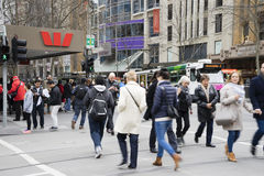 Communters crossing the street in Melbourne Royalty Free Stock Photography