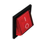 Commutateur électrique rouge à la position de fonctionnement, grand macro plan rapproché d'isolement détaillé, perspective vertic images libres de droits