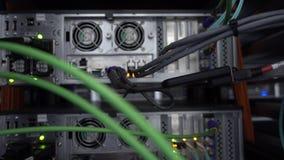 Commutateur d'Ethernet de r?seau de clignotement avec les c?bles reli?s dans la chambre de serveur banque de vidéos