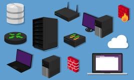 Commutateur de matériel de mise en réseau de serveur de routeur de conception d'icône d'objets de LAN de topologie de réseau illustration de vecteur
