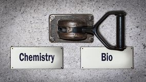 Commutateur de mur à bio contre la chimie photo libre de droits
