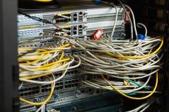 Commutateur de réseau et câbles d'Ethernet Photos libres de droits