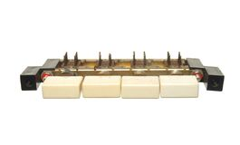 Commutateur de vintage avec quatre boutons d'isolement sur le fond blanc Photos stock