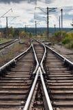Commutateur ferroviaire à la fourchette dans les voies image libre de droits
