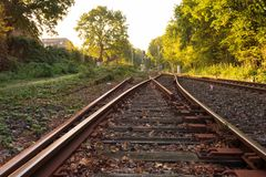 Commutateur ferroviaire dans la lumière de matin photos libres de droits