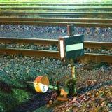 Commutateur ferroviaire la nuit Image stock