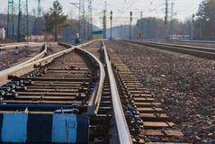 Commutateur ferroviaire, une partie d'infrastructure d'installation de tri de cargaison photos libres de droits