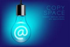 Commutateur incandescent d'ampoule sur l'ensemble au signe, illustration de conception de l'avant-projet d'email Photos libres de droits
