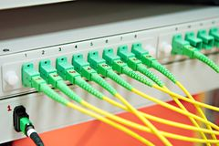 Patch cables in the electronic device Royalty Free Stock Images