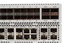 Commutatore di Ethernet di gigabit con la scanalatura di SFP Fotografia Stock