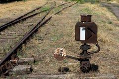 Commutatore manuale della strada di ferrovia alla giunzione della ferrovia Immagini Stock