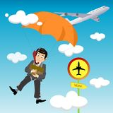 Commute to work. Illustration of a businessman who commutes to work in a revolutionary way that is parachuting from an airplane at a bizarre airbus station Stock Images
