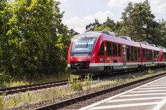 Commute train right. NURNBERG /GERMANY - JULY 17th 2014: photo of a commute train passing through a station in Nurnberg, Germany Royalty Free Stock Photos