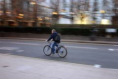 Commuter on bike 2 Royalty Free Stock Images