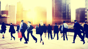 Commuter Buiness People Corporate Cityscape Walking Travel Conce Stock Photos