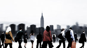 Commuter Buiness People Corporate Cityscape Walking Travel Conce Royalty Free Stock Photo