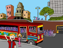 Commuter Bus Riders. An image of a commuter bus filled with people in the city Stock Photo