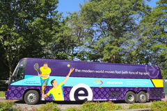 Commuter bus sponsored by Esurance at US Open 2014 near Billie Jean King National Tennis Center Stock Image