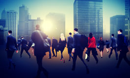 Commuter Business District Walking Crowd Cityscape Concept stock photo