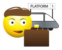 Commuter Business Man Emoticon. A commuter business man and train platform emoticon isolated on a white background Royalty Free Stock Photo