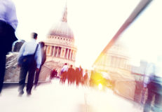Commuter Business People Commuter Crowd Walking Cathedral Concep Royalty Free Stock Photography