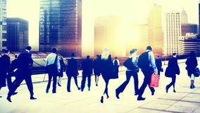 Commuter Business People Corporate Cityscape Walking Travel Conce Stock Photography