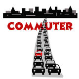 Commuter city. City traffic jam after work commute illustration Stock Images
