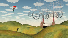 Commuter. Fantastic landscape with man floating in sky under umbrella Stock Photography