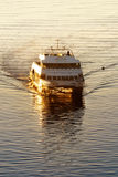 Commuter ferry. Early morning commuter ferry coming across Boston Harbor to dock stock photos