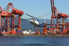 Commuter Helicopter Landing, Vancouver Stock Image