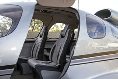 Commuter Jet Aircraft Cabin. Deluxe leather seating adorns the cabin of this new luxury commuter jet stock photos