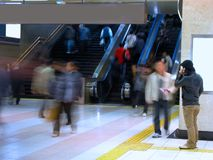 Commuter pass-motion blur aspect. People in motion in a commuter pass Stock Photo