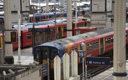 Commuter passenger trains at platform Stock Photography