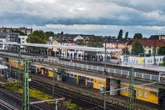 Commuter rail platform Frankfort Germany Royalty Free Stock Photos