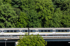 Commuter Rail Train in the Trees Stock Photo
