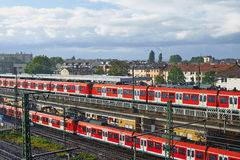 Commuter rail trains Frankfort Germany Stock Images