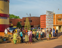 Commuter taxi. Jinja, Uganda - September 2015 - Women at a downtown brooms' market. The brooms, that are made from dried grass, cost around Ugandan shillings 500 Royalty Free Stock Photo