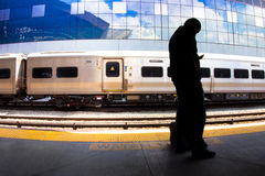 Commuter and Train Royalty Free Stock Photography